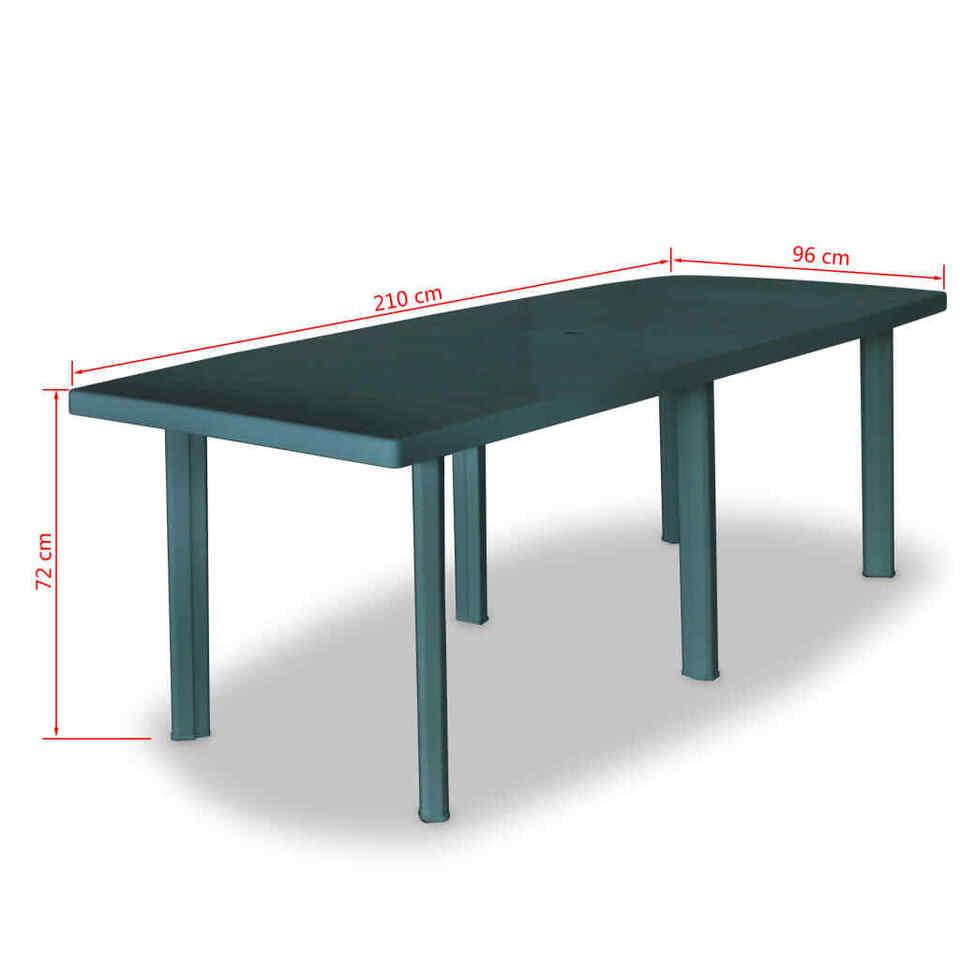 Tavolo da Giardino Verde 210x96x72 cm in Plastica 5