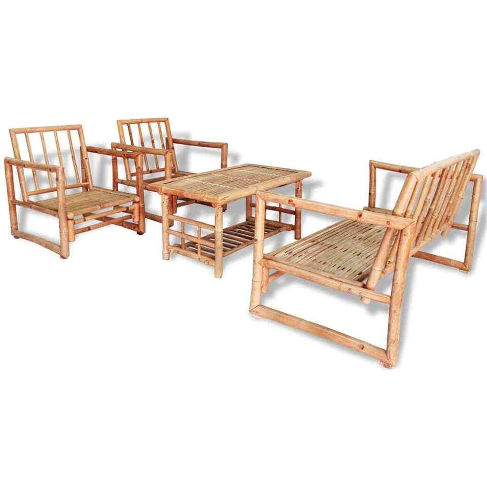 Set Divani da Giardino 4 pz con Cuscini in Bambù 2