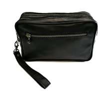 Pochette Uomo Vera Pelle Nero Borsello Mini Bag Borsa Accessori Beauty
