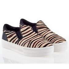 Ash sneakers scarpe slip on platform donna pelle jungle nere / crema t