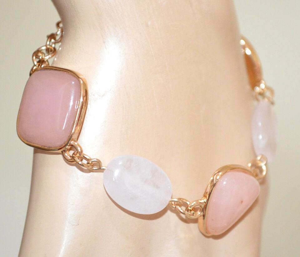 Bracciale pietre rosa cipria donna oro ciondoli catena 4