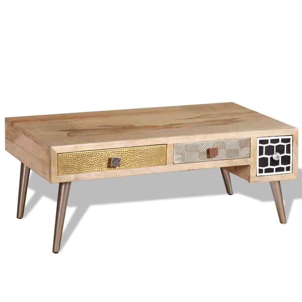 Tavolino da Caffè con cassetti in Legno Massello Mango 105x55x41 cm