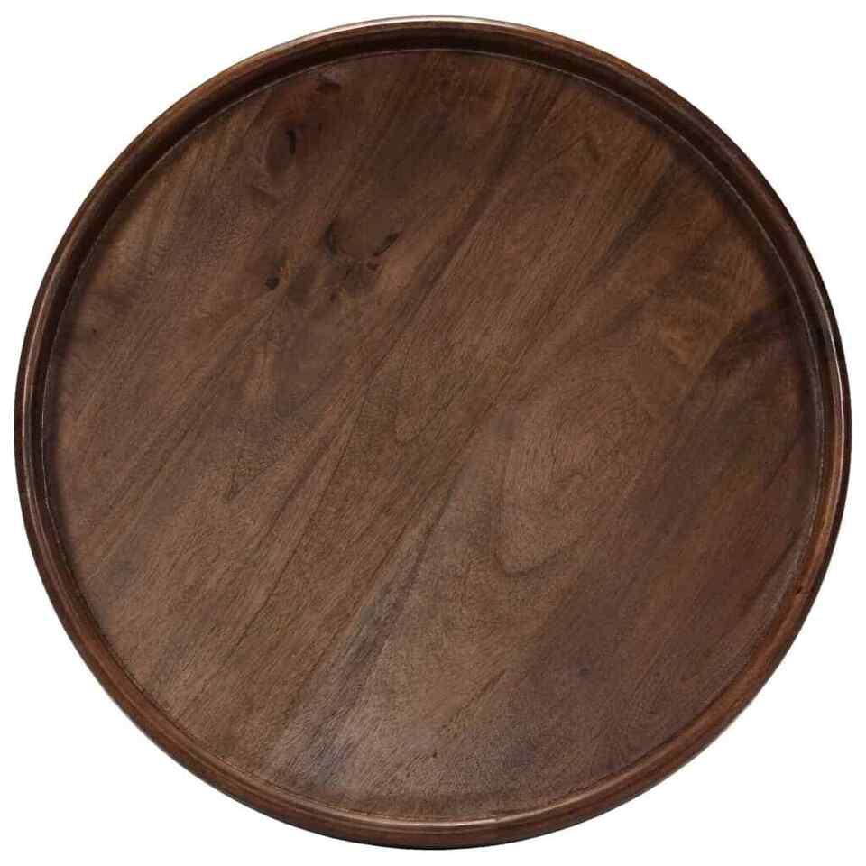 Set Tavolini 3 pz in Legno Massello di Mango e Acciaio 2