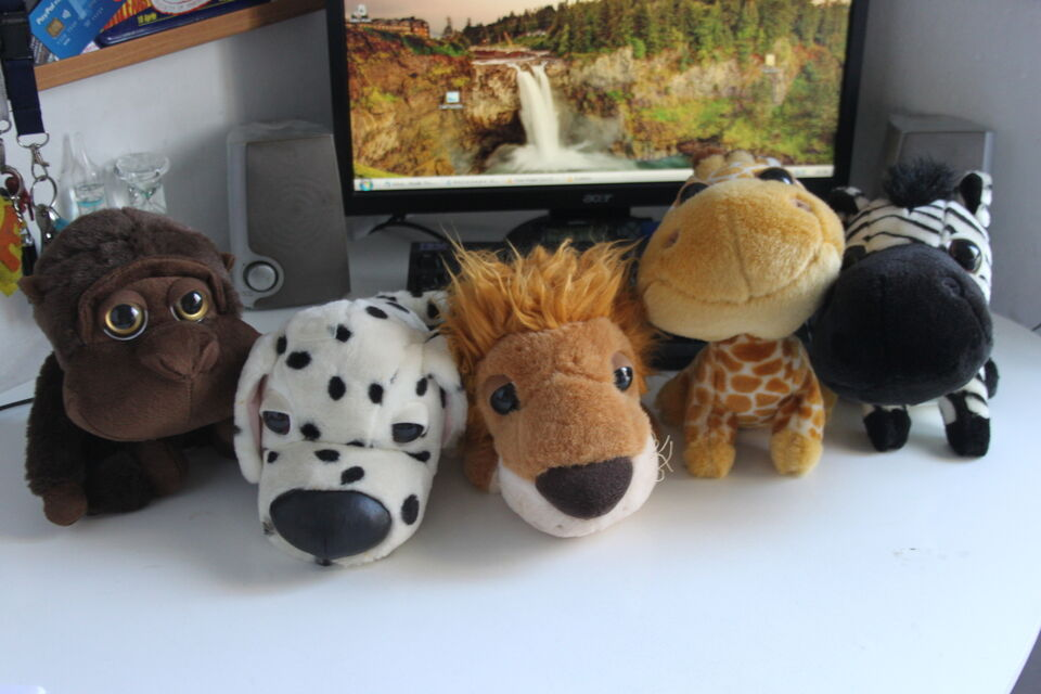 Peluches animali leone, zebra, gorilla Big Headz