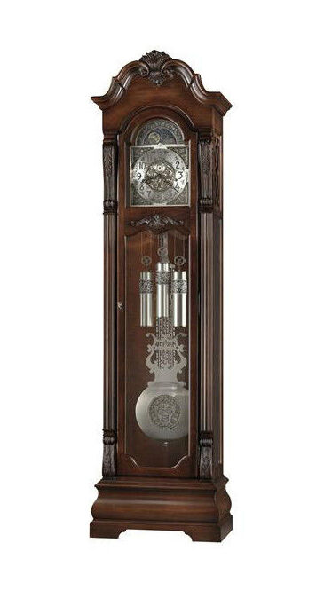 the howard miller neilson stands inches high the brushed nickel pendulum chimes and dial with their distinctive markings combine elegantly