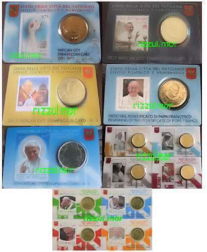 MONETE VATICANO STAMP & COIN CARD, serie completa 2011-2016