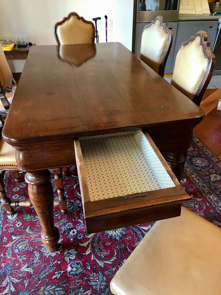 Tavolo pranzo rettangolare in legno antico '800 + 6 sedie 5