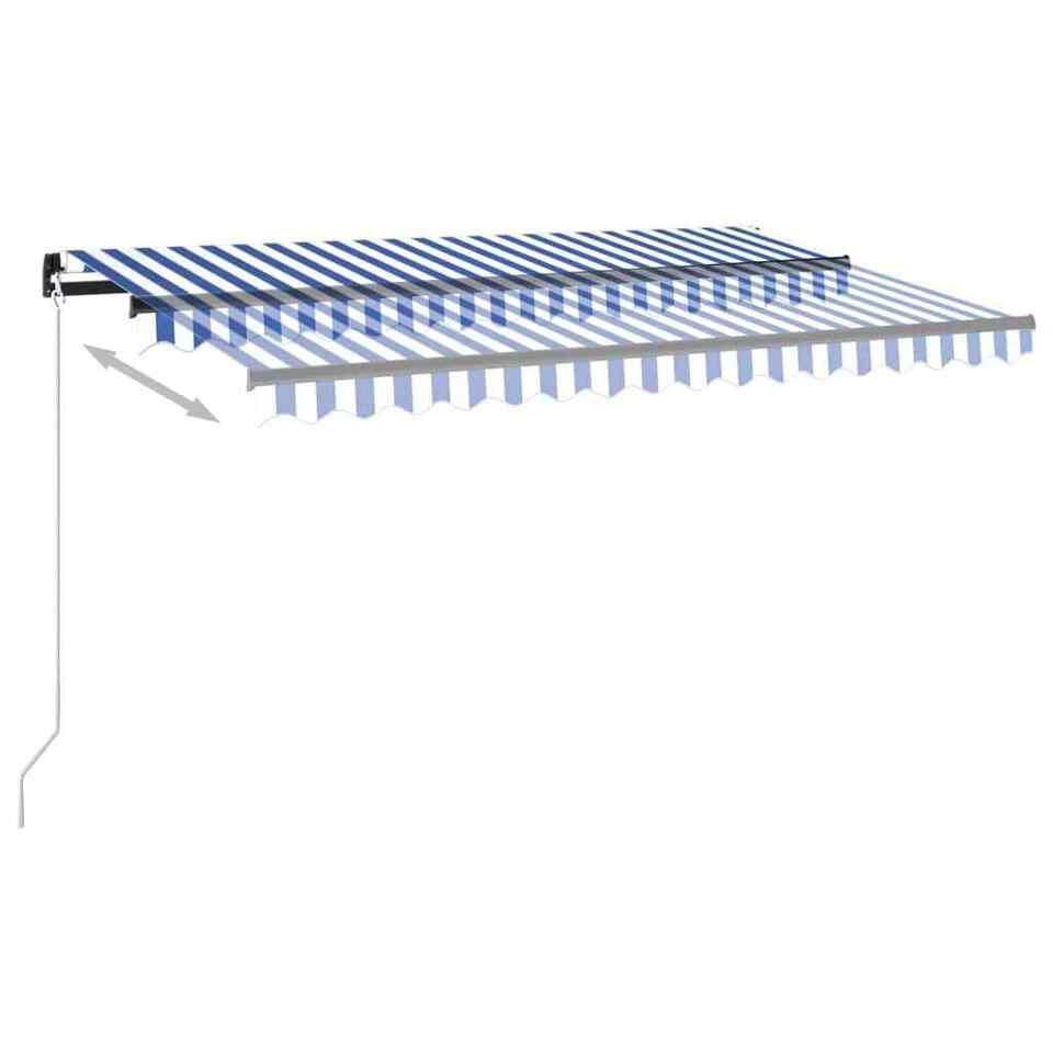 Tenda Automatica con Sensore Vento e LED 450x300 cm Blu Bianca 4