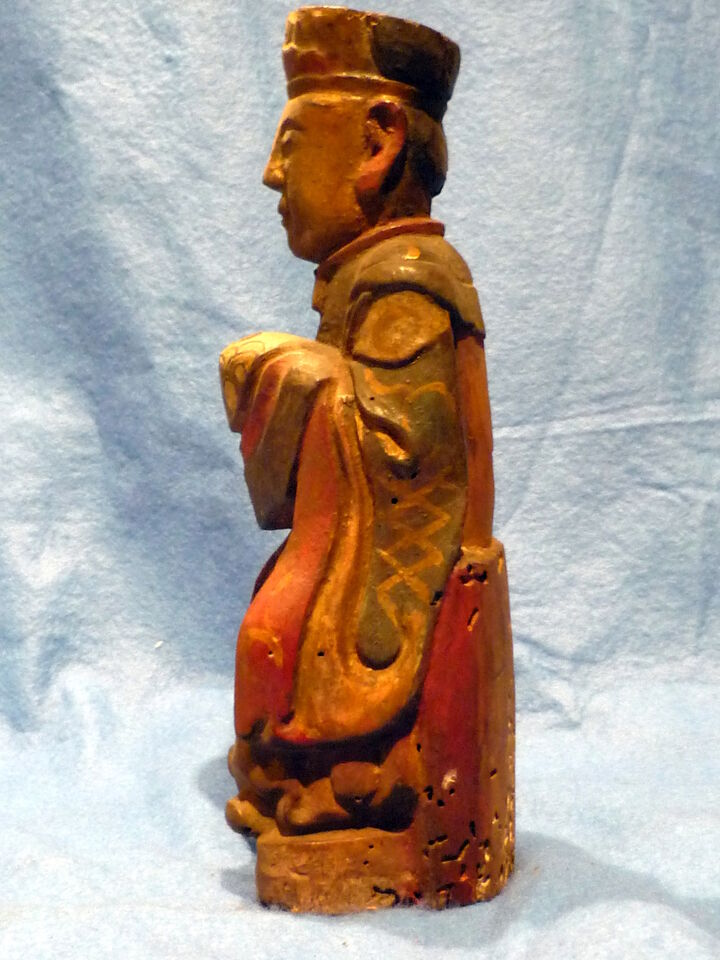 Cina 1850, Chinese Carved Wood Reliquary of Dignitary 2