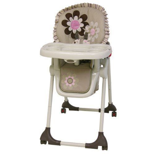 floral printed and functional the baby trend gabriella high chair adjusts to six different heights for kids of all sizes it includes a safety harness so