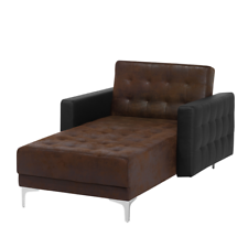 BELIANI Chaise longue in similpelle marrone e nero ABERDEEN