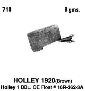 Tomco 710 Carburetor Float Holley 1 bbl Model 1920 Fits