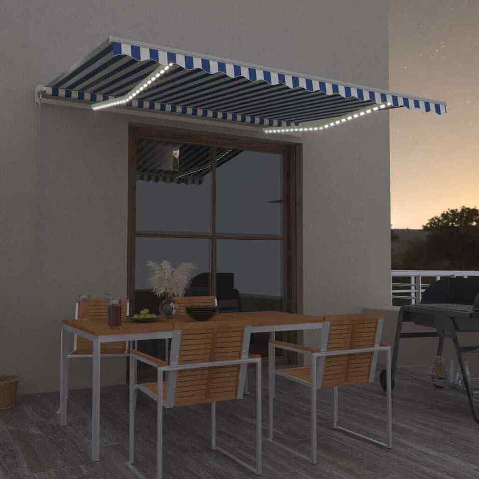 Tenda da Sole Retrattile Manuale con LED 450x350 cm Blu Bianco