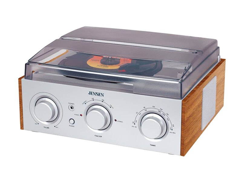 Another Top Modern, Yet Retro Looking Turntable Is The Jensen JTA 220  Jensen 3 Speed Turntable With AM/FM Receiver U0026 Stereo Speakers.