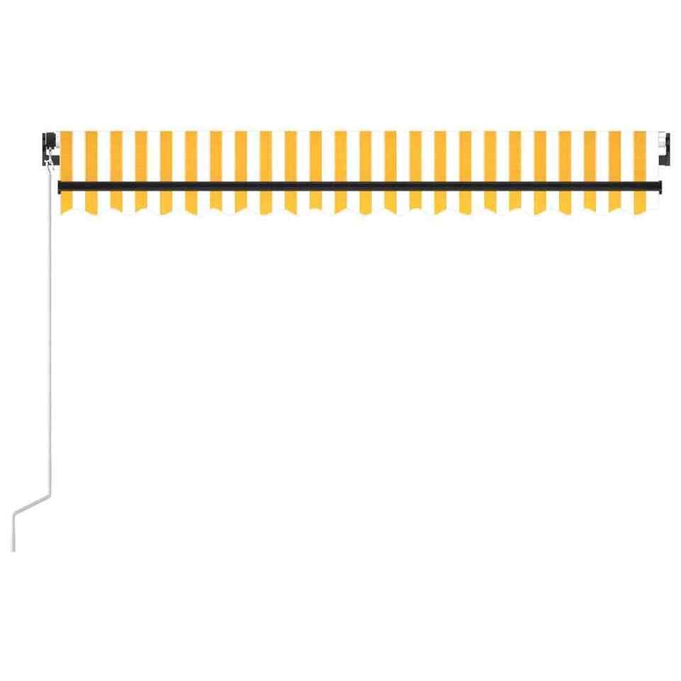Tenda da Sole Retrattile Manuale LED 450x300 cm Gialla e Bianca 3