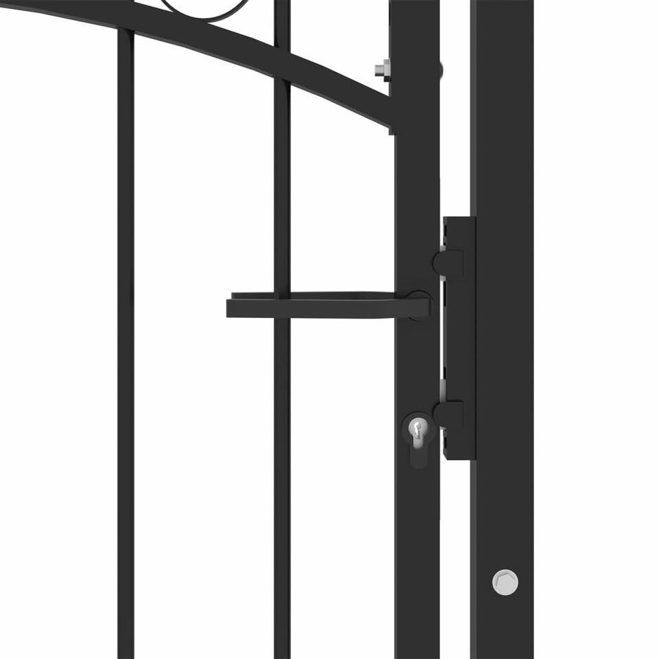 Cancello per Recinzione con Punte in Acciaio 100x200 cm Nero 4