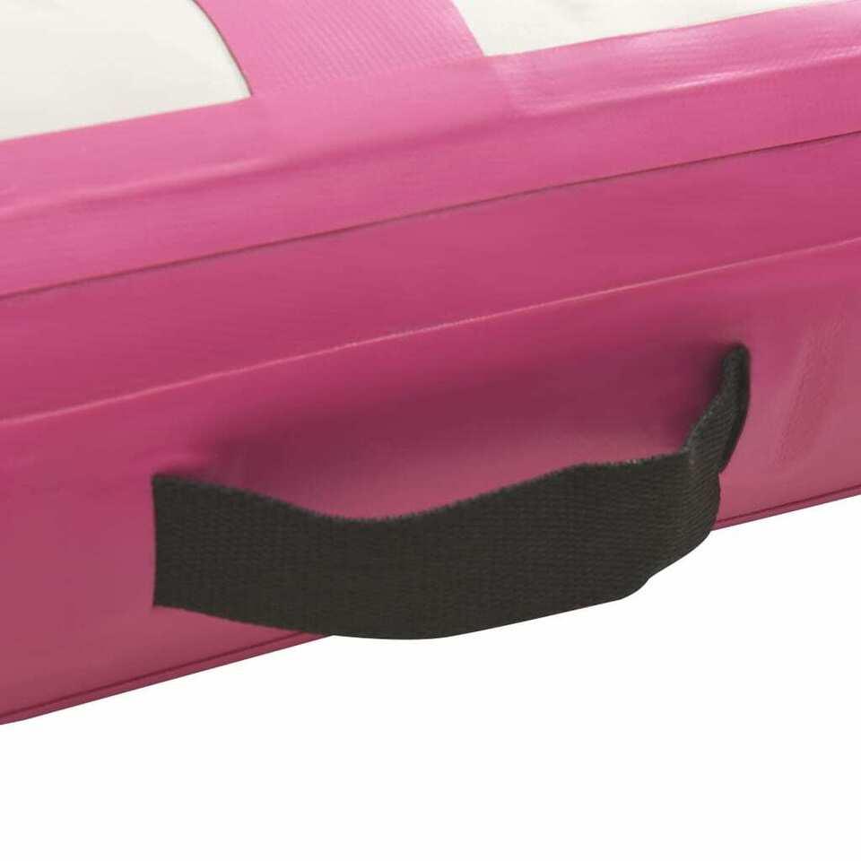 Tappetino Ginnastica Gonfiabile con Pompa 500x100x15cm PVC Rosa 6