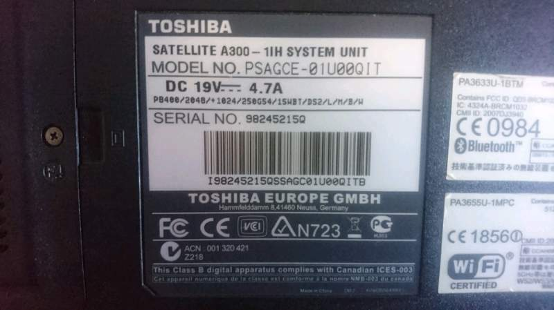 Notebook Toshiba Satellite A300