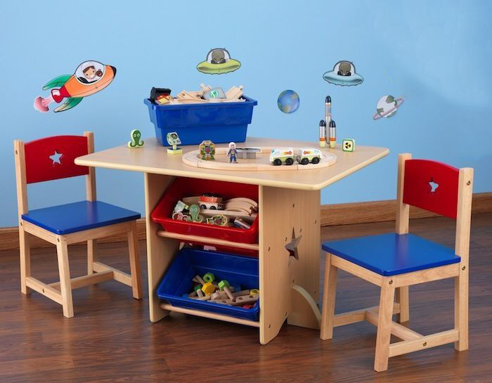 Delightful It Features A Birch Wood Construction With Blue And Red Chairs, As Well As  Matching Storage Bins That Fit Underneath The Table.