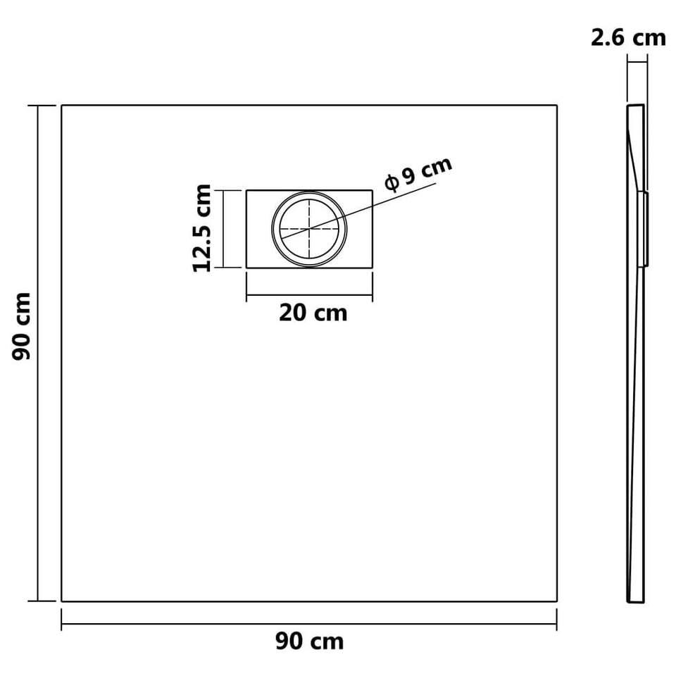 Piatto Doccia in SMC Grigio 90x90 cm 8