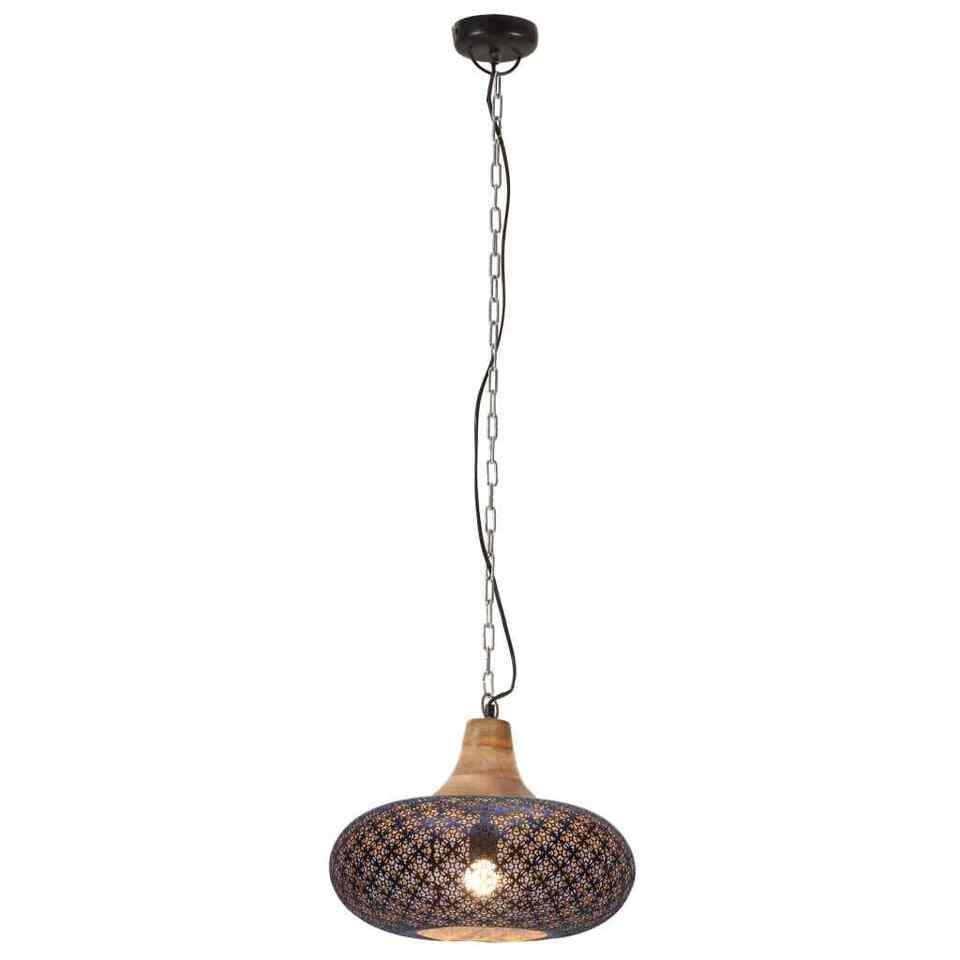 Lampada Soffitto Industriale Nera Ferro Legno Massello 40cm E27 5