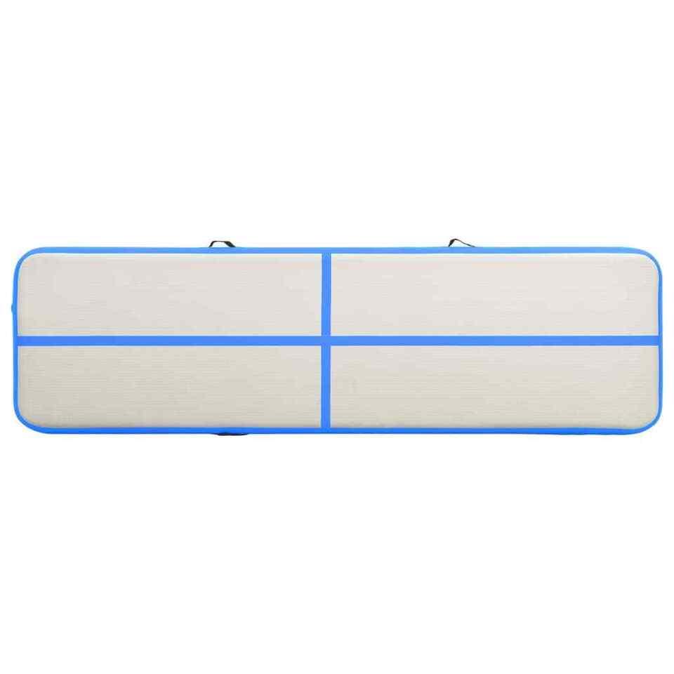 Tappetino Ginnastica Gonfiabile con Pompa 700x100x20cm PVC Blu 5