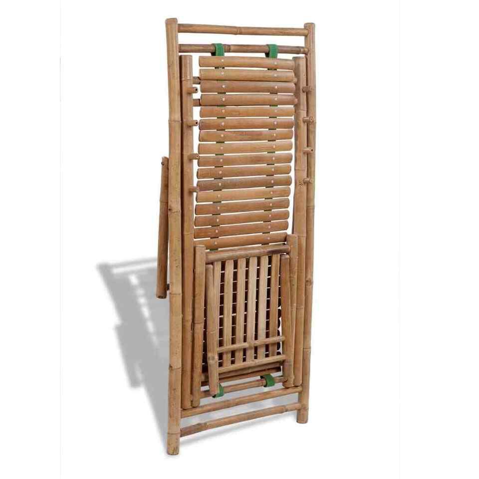Sedia a Sdraio da Esterno con Poggiapiedi in Bambù 5