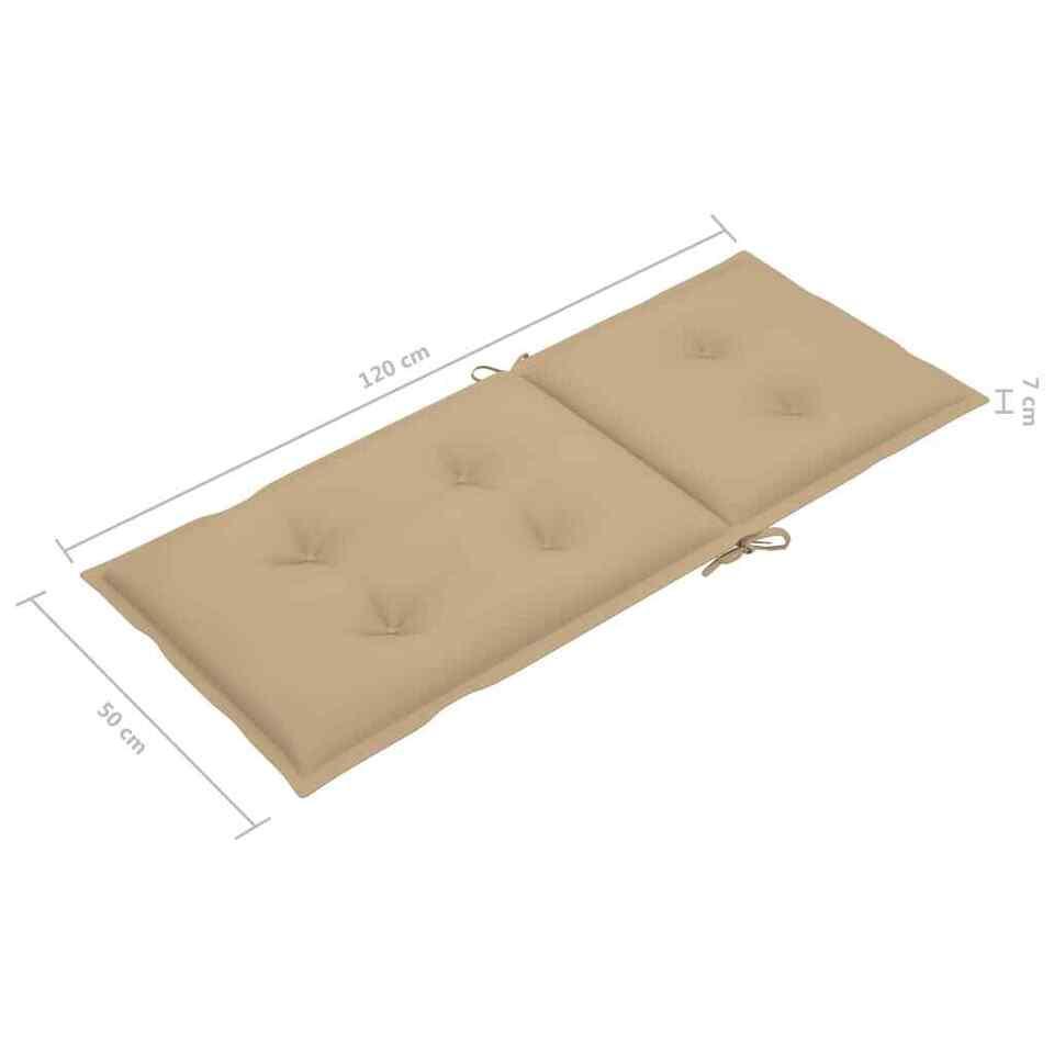 Cuscini per Sedie da Giardino 6 pz Beige 120x50x7 cm 6