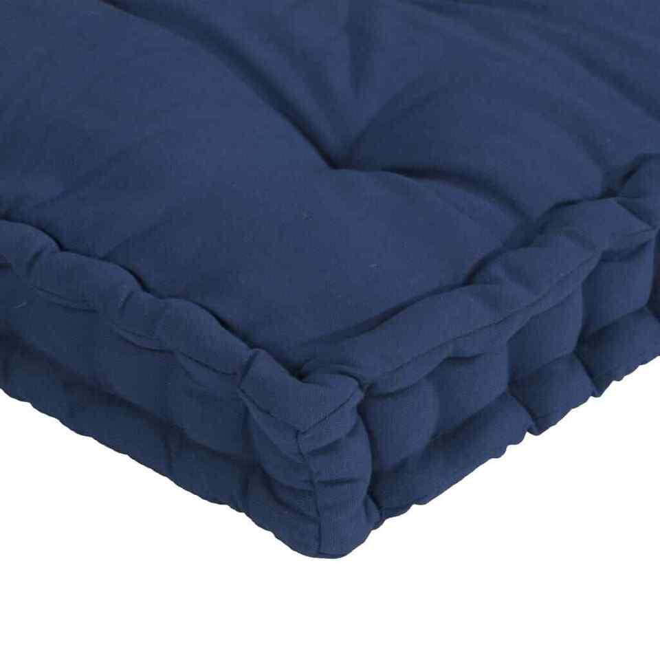 Cuscini per Pallet e Pavimento 3 pz Blu Navy Chiaro in Cotone 6