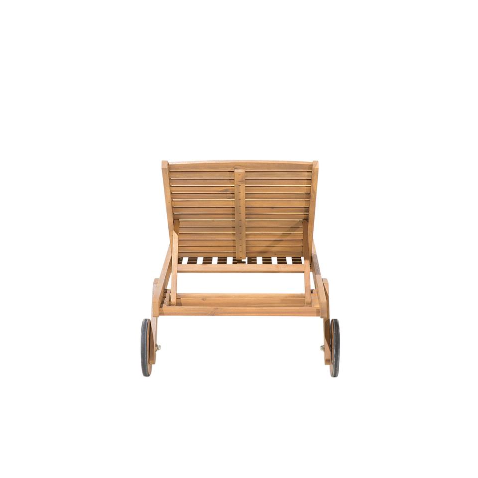 BELIANI Lettino da giardino in legno di acacia con cuscino grigio scur 8