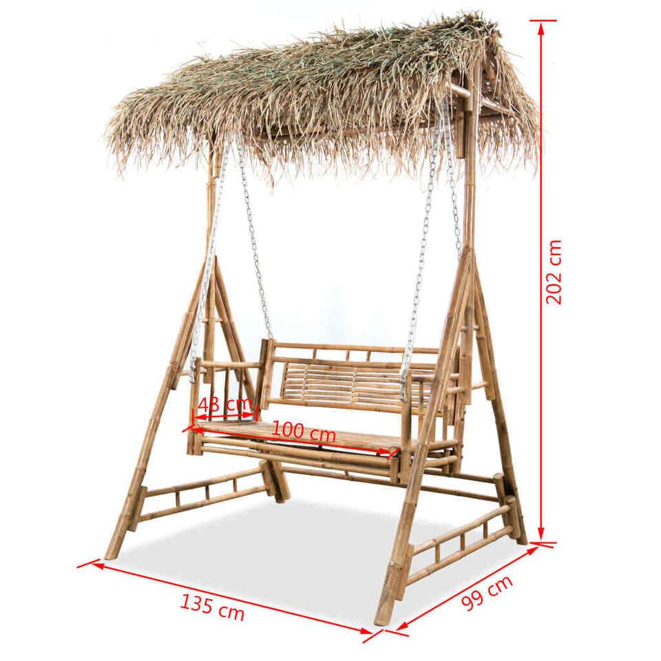 Panchina a Dondolo 2 Posti con Foglie di Palma in Bambù 202 cm 6