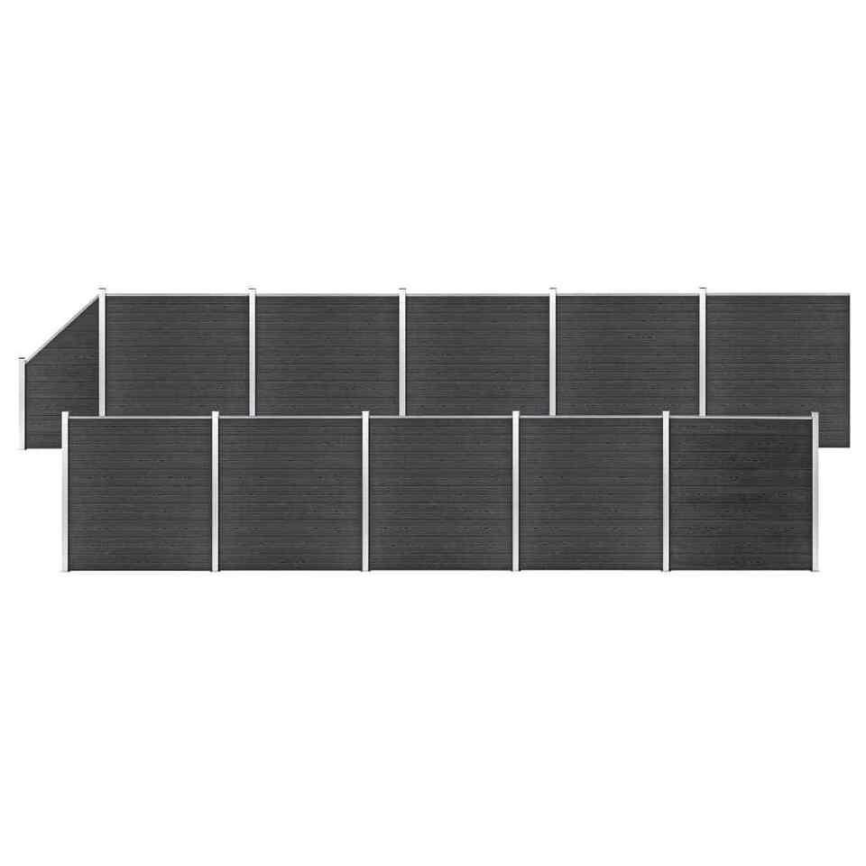 Pannelli Recinto WPC 10 Quadrati 1 Inclinato 1830x186cm Grigi