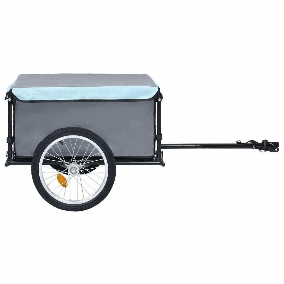 Rimorchio da Bici per il Trasporto di Merci Nero e Blu 65 kg 2