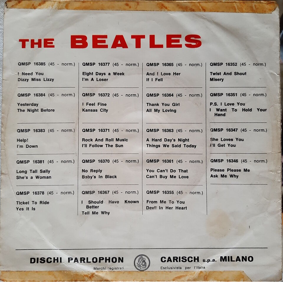 The beatles help! qmsp 16383 copertina - 7'' picture sleeve g+ 2