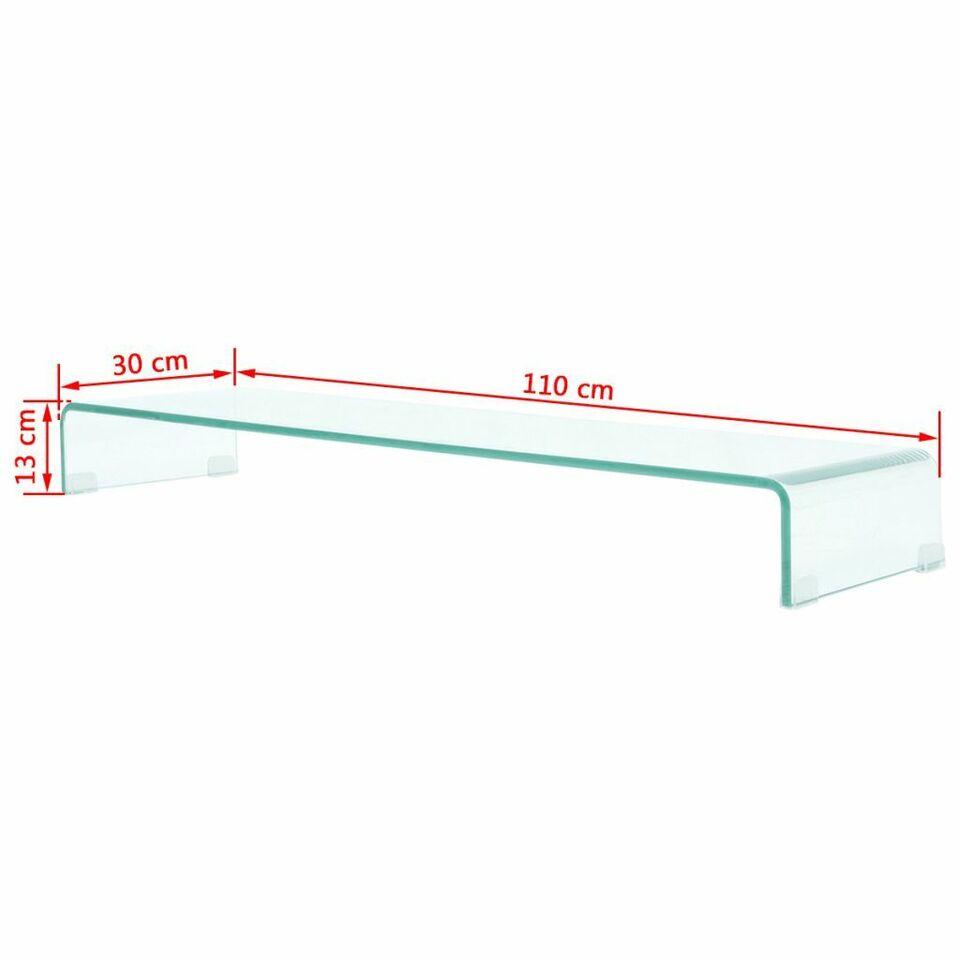 Mobile/Rialzo Porta TV in Vetro Trasparente 110x30x13 cm 6