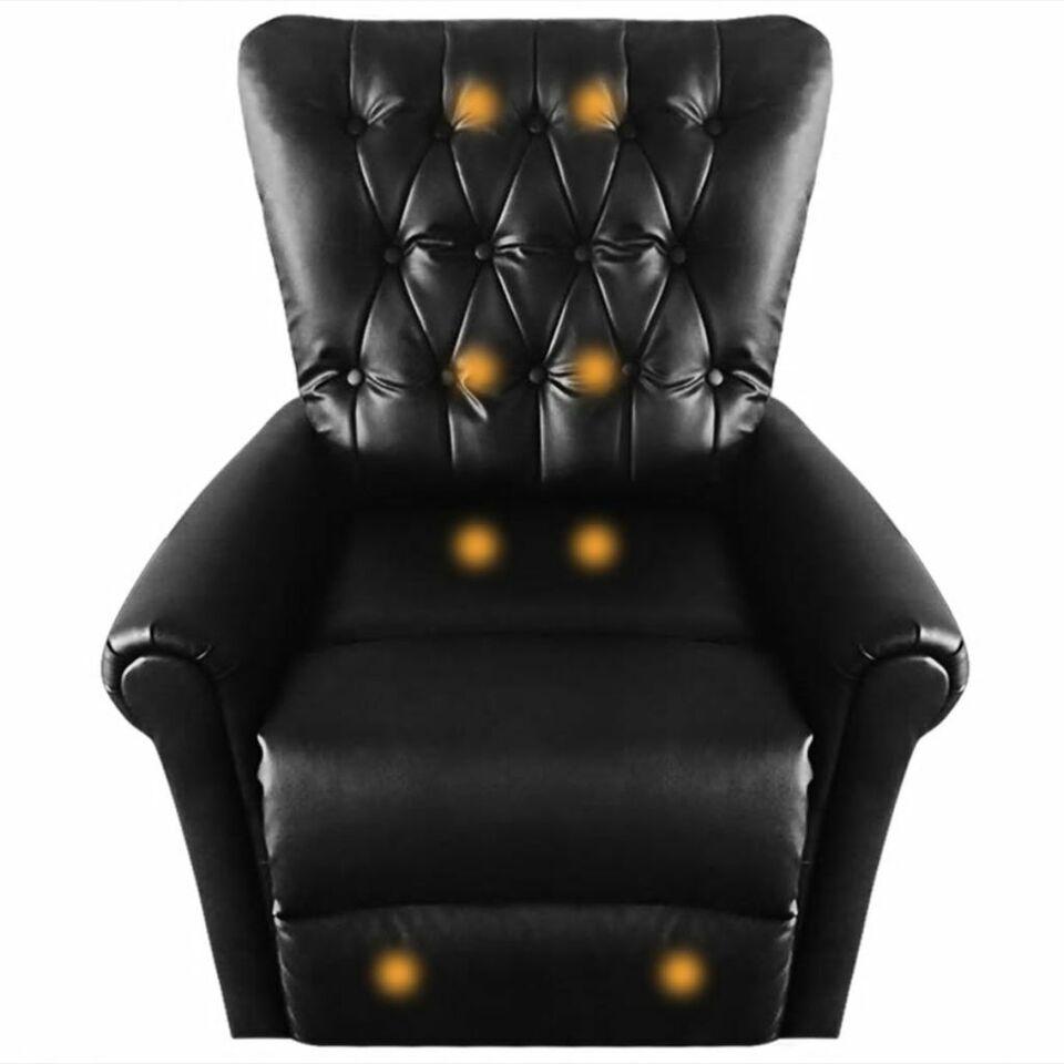 VidaXL Poltrona Massaggio Elettrica Reclinabile in Similpelle Nera 6