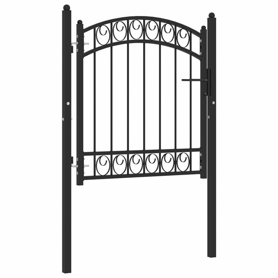 Cancello per Recinzione ad Arco in Acciaio 100x100 cm Nero 2