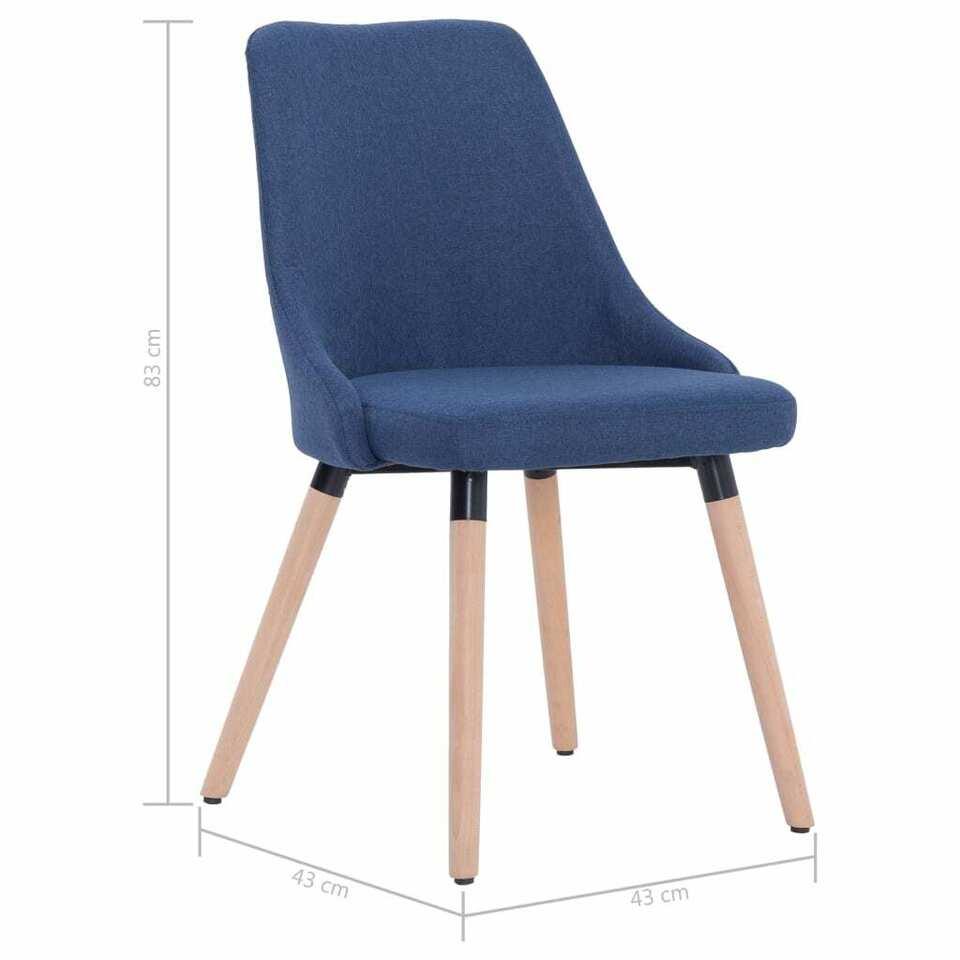 Sedie da Pranzo 2 pz Blu in Tessuto 8