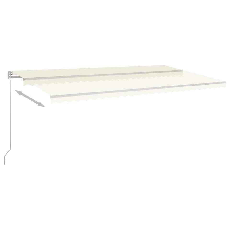 Tenda da Sole Retrattile Manuale con LED 600x300 cm Crema 3