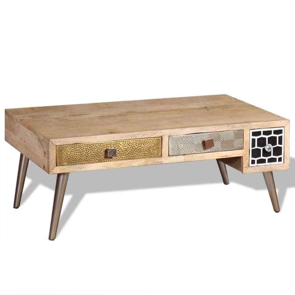 Tavolino da Caffè con cassetti in Legno Massello Mango 105x55x41 cm 4