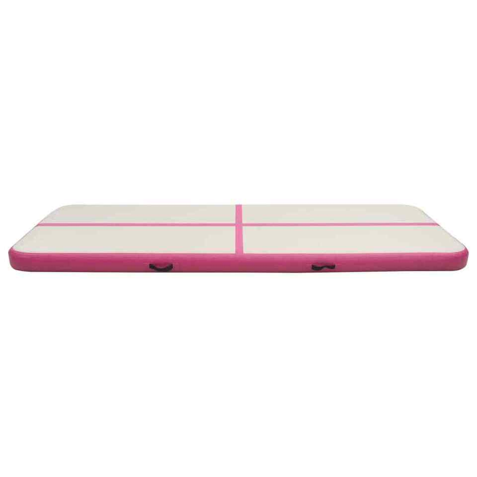 Tappetino Ginnastica Gonfiabile con Pompa 500x100x20cm PVC Rosa 4
