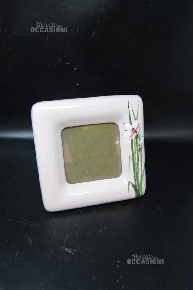 Porta Foto Quadrato Rosa In Ceramica Con Fiori 21 X 21 Cm