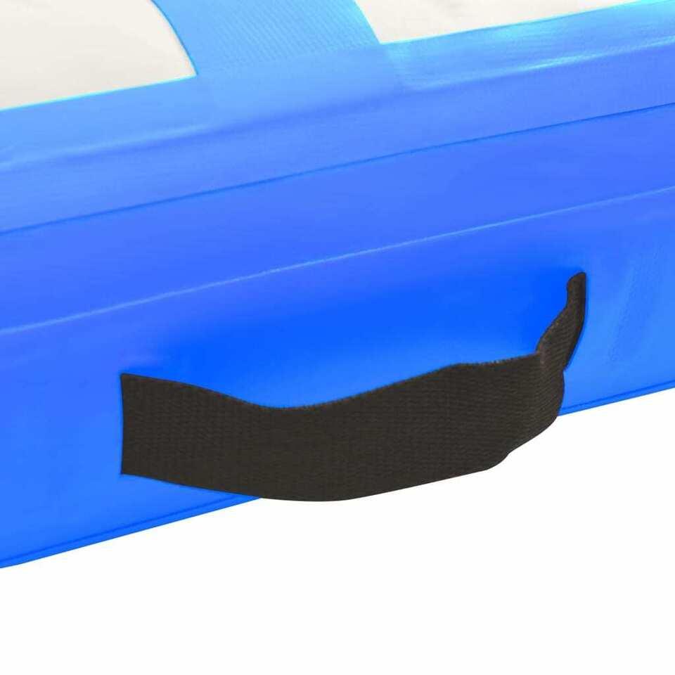 Tappetino Ginnastica Gonfiabile con Pompa 700x100x20cm PVC Blu 6