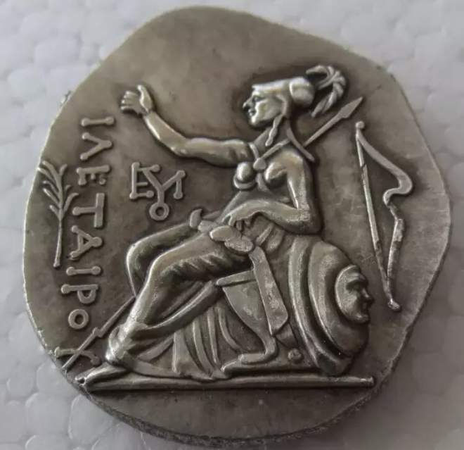 MONETA antica Grecia tetradracma testa Diana metallo NO ARGENTO COPIA