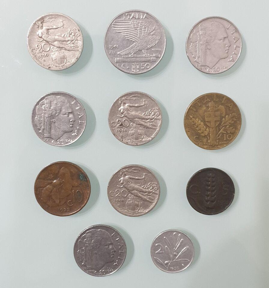 Lotto di 11 Monete Lire e Centesimi Italia Vittorio Emanuele III
