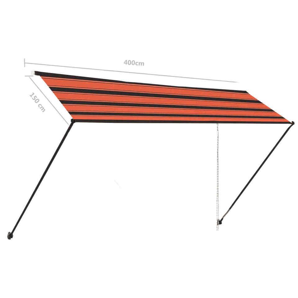 Tenda da Sole Retrattile con LED 400x150 cm Arancione e Marrone 8