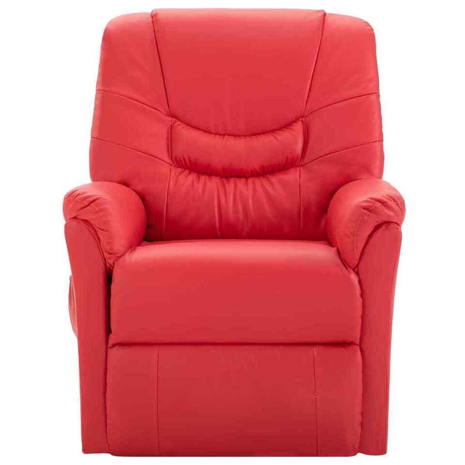 Poltrona Massaggiante Reclinabile Rossa in Similpelle 2