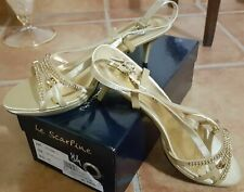 Sandali in Raso Oro con Strass MADE IN ITALY Donna Gioiello N°40