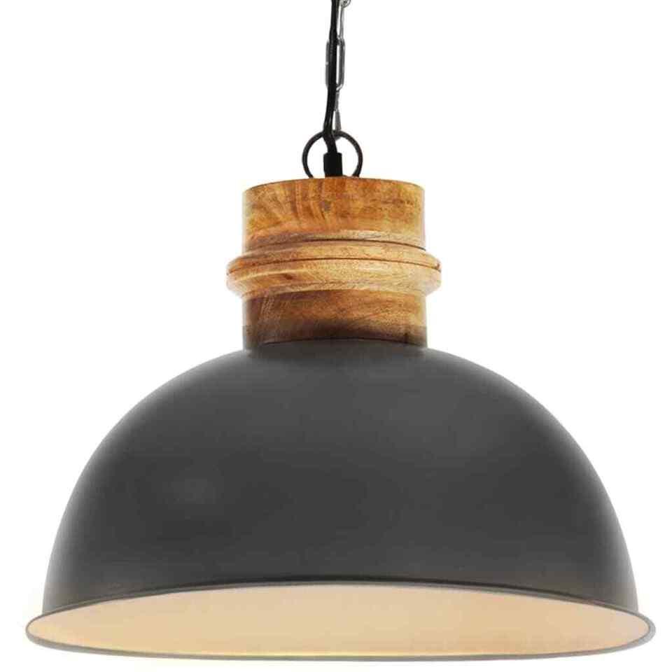 Lampada Soffitto Industriale Grigia Rotonda 42 cm E27 in Mango