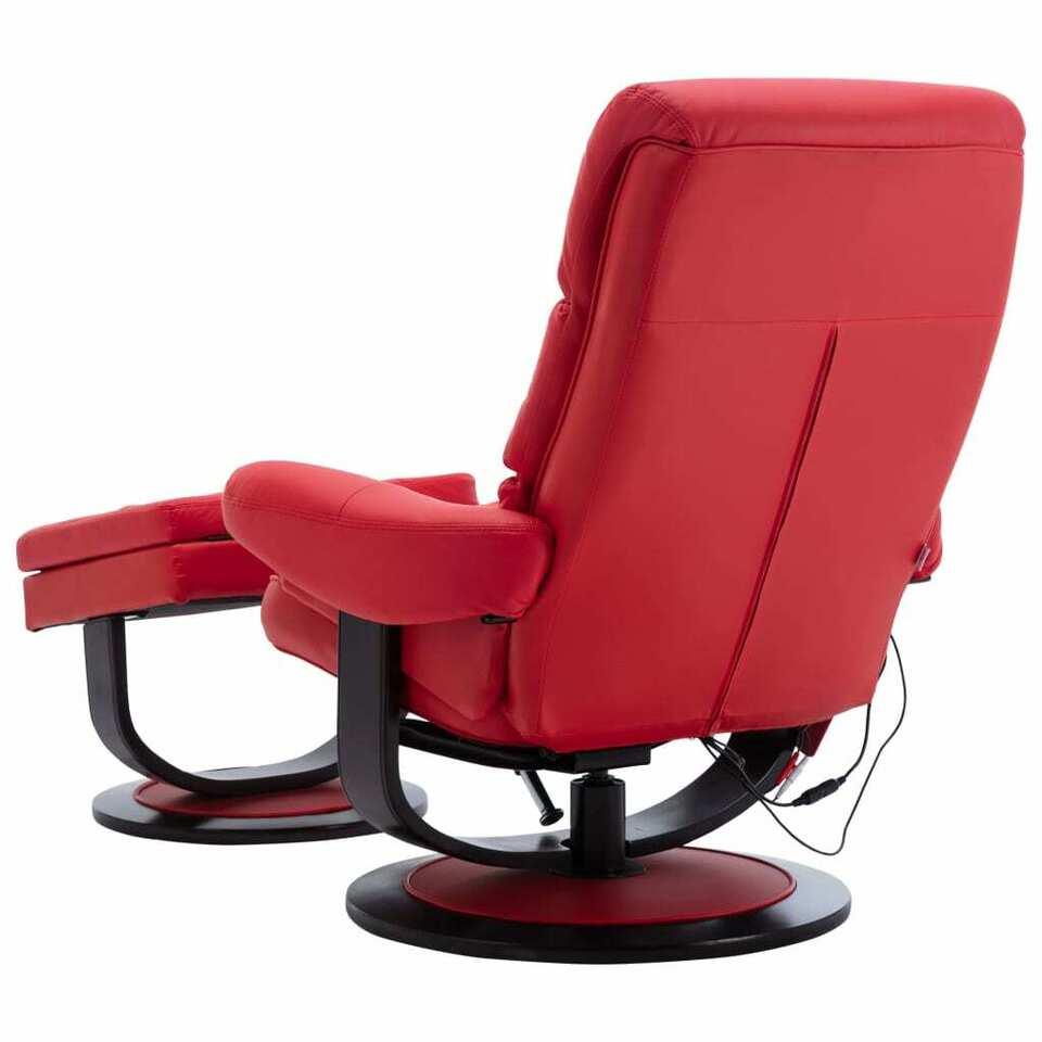 Poltrona Massaggiante Rosso Vino in Similpelle e Legno Piegato 6